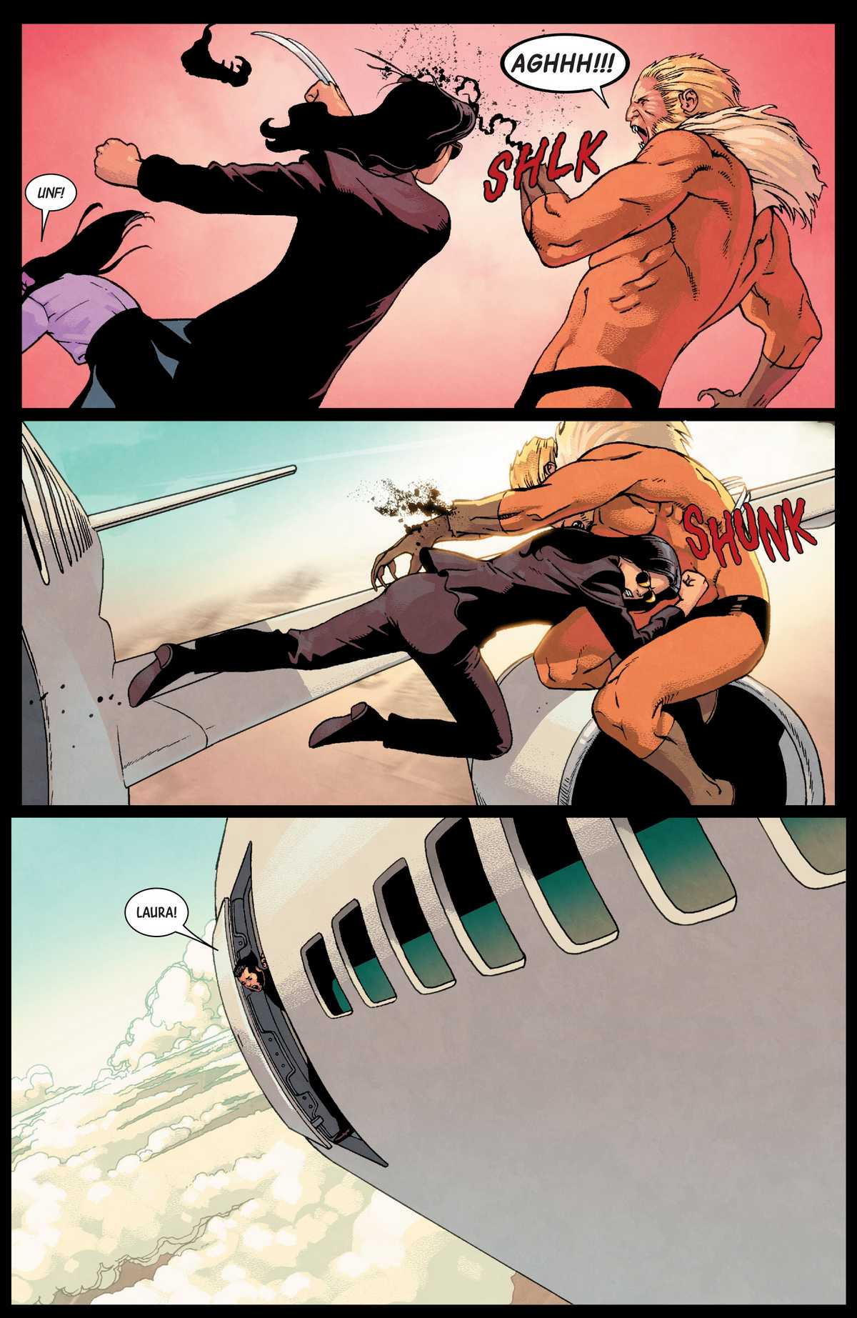 laura tackles sabretooth out of the window